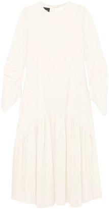 Akris Pleated Wool-crepe Midi Dress