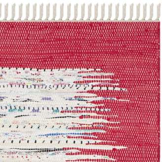"""Three Posts Abstract Handmade Flatweave Cotton Ivory/Red Area Rug Baby & Kids Rug Size: Rectangle 2'6"""" x 4'"""