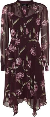Wallis Berry Floral Print Fit and Flare Dress