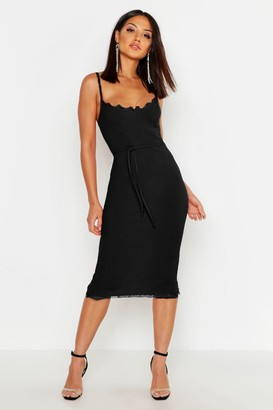 boohoo Lace Bustier Trim Tie Belt Midi Dress