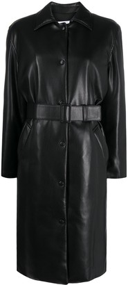MSGM Faux Leather Belted Coat