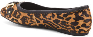 Leopard Haircalf Ballet Flats With Hardware