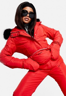 Missguided Red Ski Jacket With Mittens And Fanny Pack