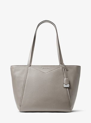 MICHAEL Michael Kors MK Whitney Large Leather Tote Bag - Pearl Grey - Michael Kors