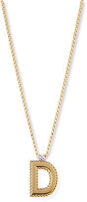 Roberto Coin Princess 18K Yellow Gold Diamond Initial Necklace, D