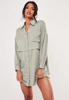 Missguided Green Oversized Utility Shirt Dress