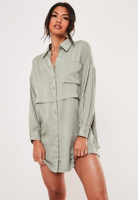Missguided Green Oversized Utility Shirt Dress