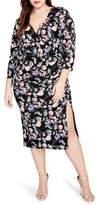 Rachel Roy Ruched Floral Midi Dress