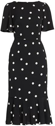 Dolce & Gabbana Charmeuse Flutter-Hem Polka Dot Sheath Dress
