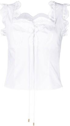Alberta Ferretti Lace Detail Cotton Top