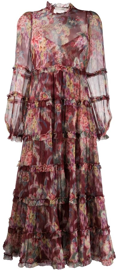 Zimmermann Floral-Print Maxi Tiered Dress