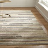 Crate & Barrel Savoy Cream Striped Hand Knotted Wool Rug