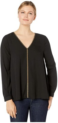 Karen Kane Studded Long Sleeve Top