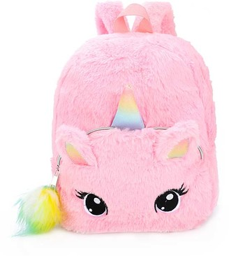 Ella & Elly Women's Backpacks Pink - Pink Fuzzy Unicorn Backpack