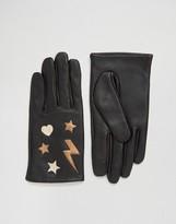 Asos Leather Star & Lightning Bolt Metallic Gloves