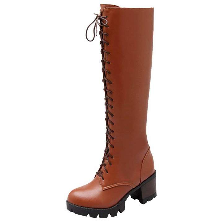 b9ce55b2f1368 Artfaerie Women's Block High Heel Retro Knee High Boots Dolly Lolita Winter  Long Shoes(US 6, )