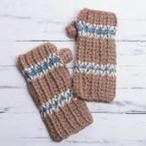 Alpaca Mittens Hand Knit Fingerless Gloves from Peru, 'Andean Land'