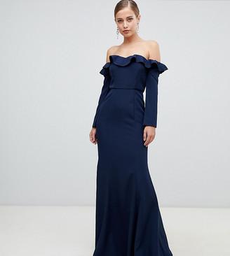 Yaura frill off shoulder fishtail maxi dress in navy