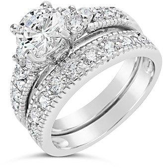 Sterling Forever Sterling Silver CZ Brilliant Ring & Band