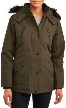 Yoki Women's Fur Collar Hooded Anorak Jacket