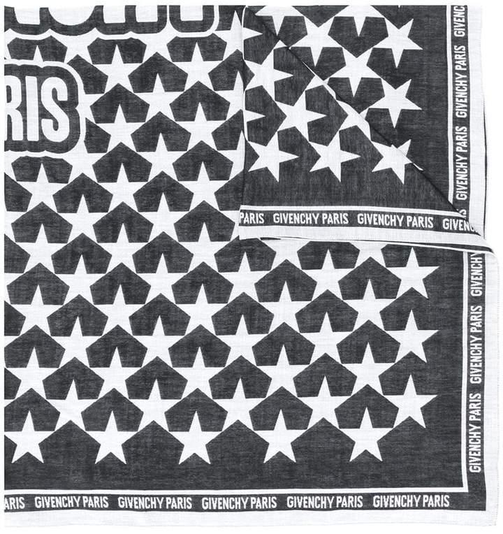 Givenchy star print logo trim scarf