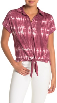 C&C California Tie-Dye Knotted Top