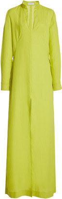 Gabriela Hearst Albon Woven Aloe Linen Shirt Dress