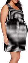 Asstd National Brand Maternity Sleeveless Stripe Ponte Dress