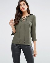 Lipsy Lace Up Blouse