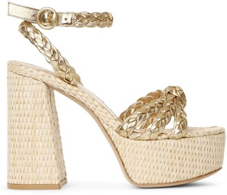 Gianvito Rossi Kea gold and raffia platform sandals