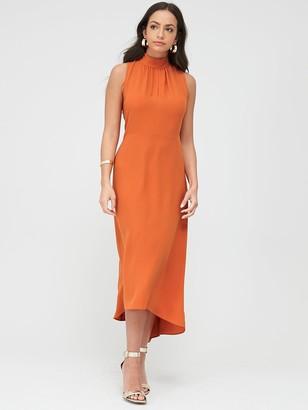 Wallis High Neck-High Low Dress - Orange