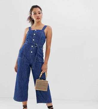 Miss Selfridge denim pinafore jumpsuit in mid wash-Blue