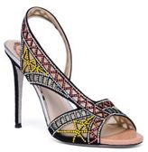 Rene Caovilla Crystal & Suede Asymmetric Sandals