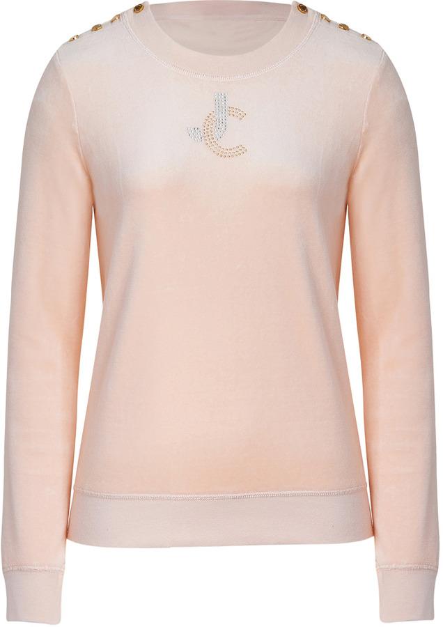 Juicy Couture Cocoa Butter Rhinestone Monogram Velour Pullover