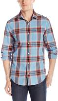 Original Penguin Men's Long Sleeve P55 Space Dye Plaid Woven