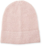 Rebecca Minkoff Garter-Stitched Headphone Beanie Hat, Light Pink