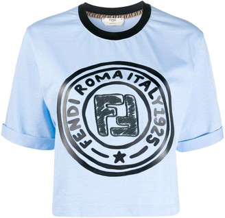 Fendi logo-print cropped T-shirt