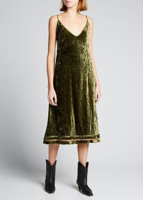R 13 Back-Tie Velvet Slip Dress