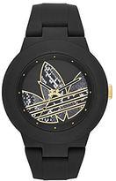 adidas Matte Black Silicone and Goldtone Logo-Print Watch