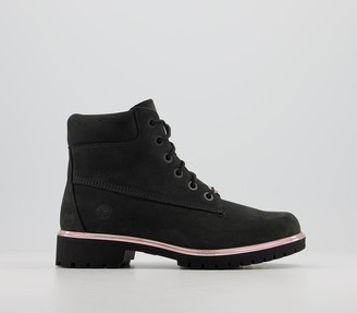 Timberland Slim Premium 6 Inch Boots Black New Rose Gold