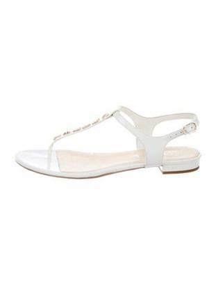 Chanel 2017 Leather T-Strap Sandals White