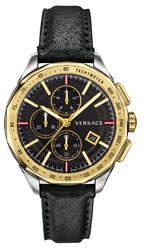 Versace Men's 44mm Glaze Chronograph Watch w/ Leather Strap, Two-Tone/Black