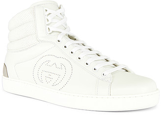 Gucci New Ace High Top Sneaker in White & Grey | FWRD