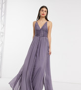 Asos Tall DESIGN Tall ruched bodice soft cami maxi dress with raw edge detail