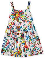 Milly Minis Emaline Sleeveless Folkloric Poplin Dress, Multicolor, Size 8-16