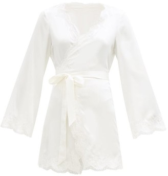 Agent Provocateur Amelea Leavers Lace-trimmed Silk-blend Satin Robe - Ivory
