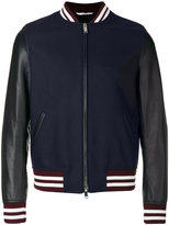 Valentino Rockstud panther print bomber jacket - men - Cotton/Calf Leather/Polyester/Wool - 48