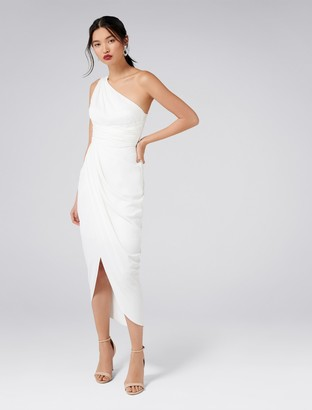 Forever New Mandy One-Shoulder Drape Maxi Dress - Porcelain - 4