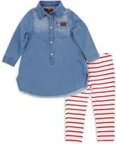 7 For All Mankind Girls' Denim Dress & Striped Leggings Set