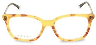 Gucci 51MM Tortoise Square Core Blue Reader Glasses